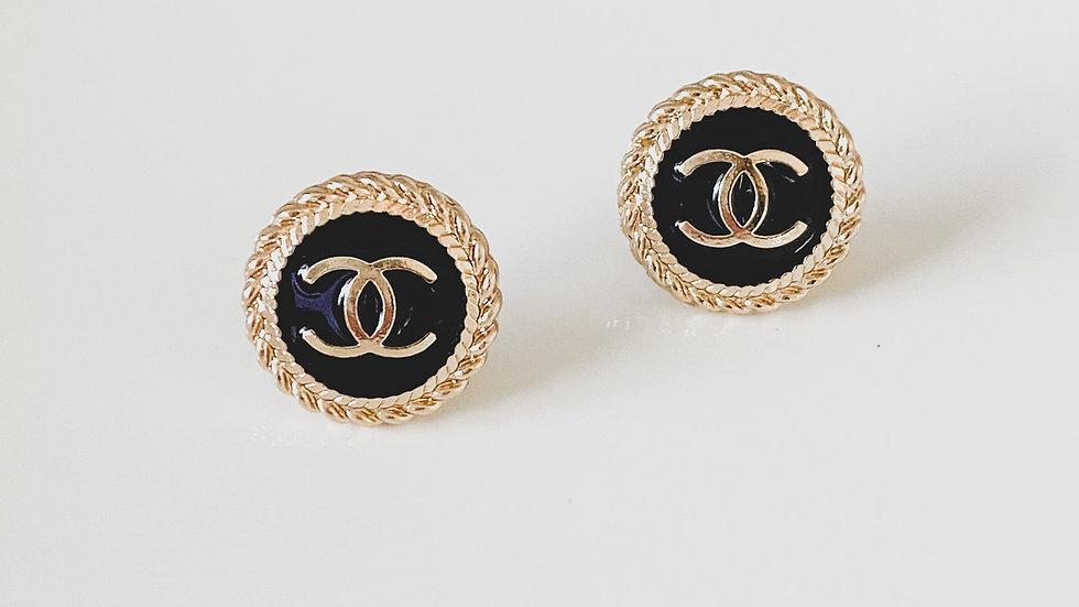 Black & Gold CC Earrings