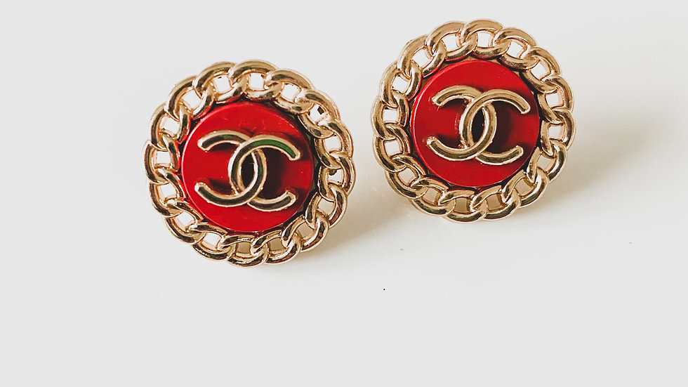 Red Buttons CC Earrings