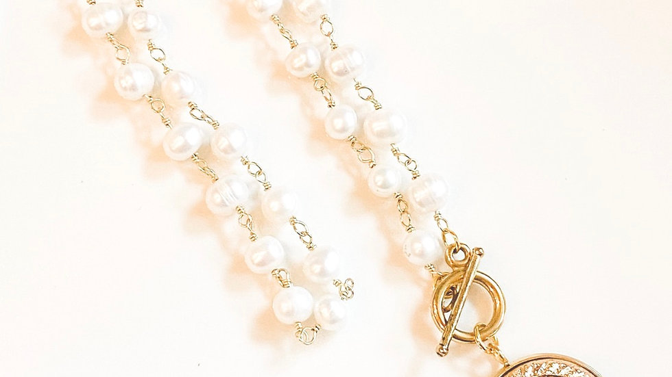 Golden Pearl CC Necklace