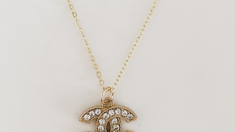 Rhinestone CC Necklace