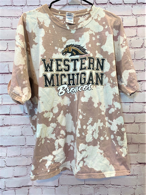 Western Michigan bleached tee