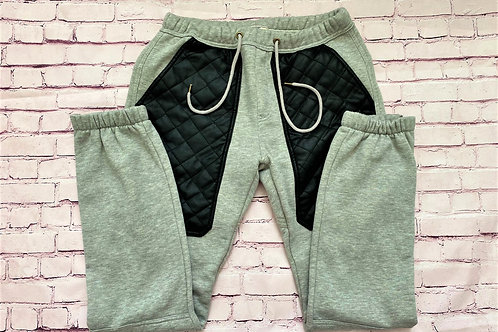 Leather patch joggers