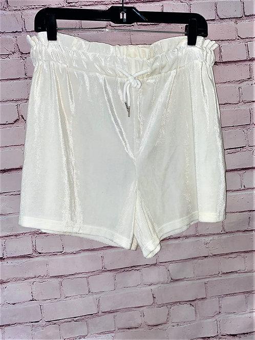 White velvet  high waisted shorts
