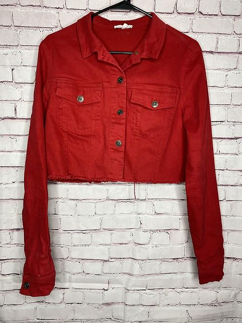 Red cropped jean jacket