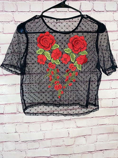 Sheer rose cropped shirt
