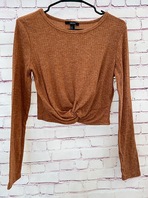Knot tie cropped sweater