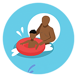 Black parent playing with child in water