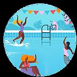 black women having fun in water