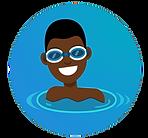 african american boy in pool smiling