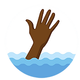 African American hand coming out of wate