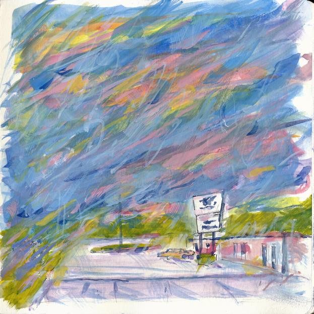 Splashy Sunset over Route 41 Motel