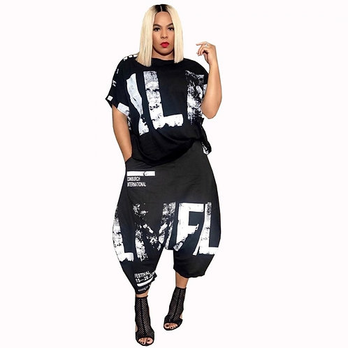 Plus Size Casual 2 Piece Set for Women/ T Shirt Tops and Harem Pants