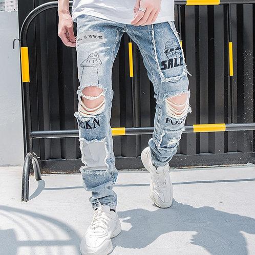 Men Reflective Hole Denim Pants  Vintage Skinny Jeans Fashion Streetwear Autumn