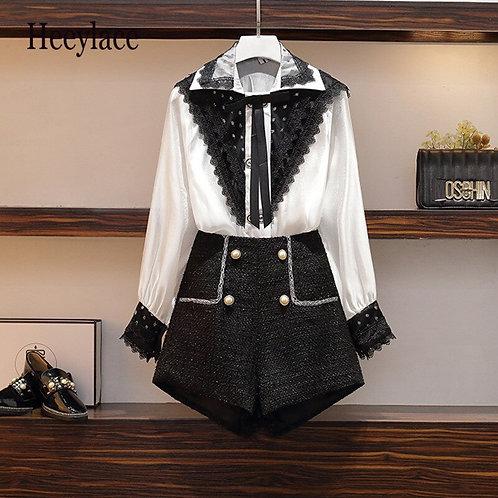Plus Size Vintage  Lace Long Sleeve Chiffon Blouse and Tweed Shorts Set