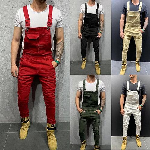 2020 Men's Jeans Solid Color  Denim Overalls /Slim Fit