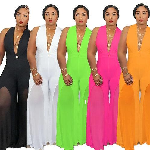 Plus Size Jumpsuit Women XL-5XL/ Stretch Bodycon Sleeveless Flared BodySuit