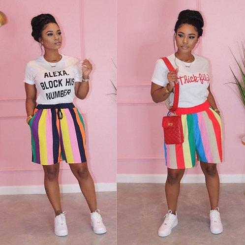 Women Summer Short Sleeve Letter T-Shirt + Rainbow Striped Shorts Outfit