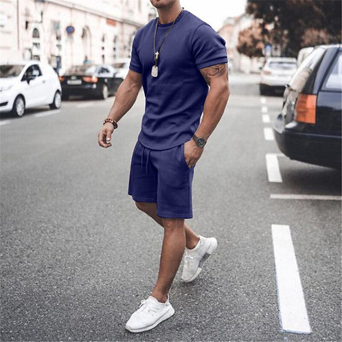 Summer Male Sportswear Set/ Fitness Shorts+T Shirt /Plus Size 3XL Two Piece