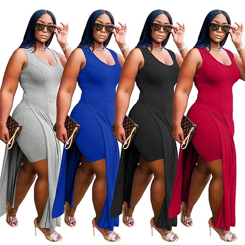 Plus Size Women  Two Piece Set/ Irregular Top Casual Shorts Sets