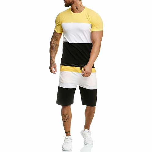 Men's 2 Piece Outfit Sport Set Stripe Print