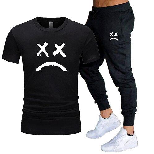 White Crying Face T-Shirt/Jogger set