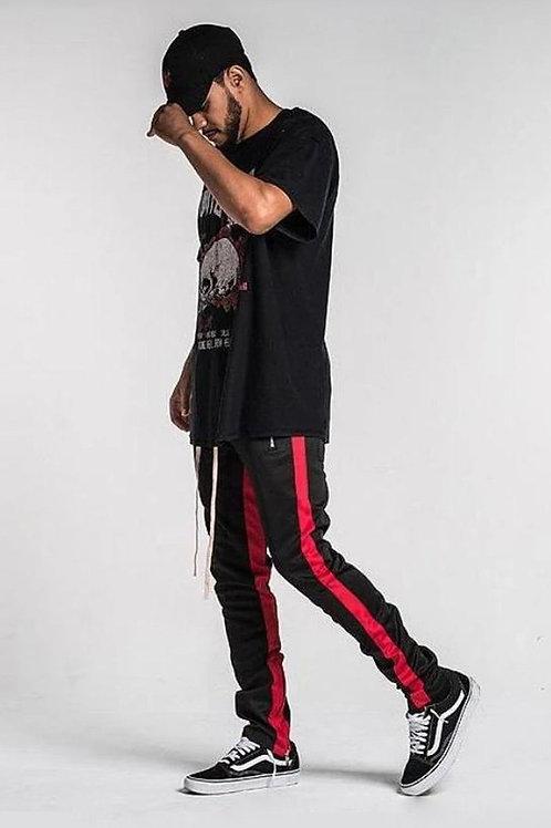 Retro Side Stripe Track Pants - Black / Red Stripe