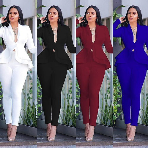 Full Sleeve Ruffles Blazers Pencil Pants Suit Two Piece Set/ Office Lady