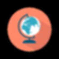 Globe with orange background
