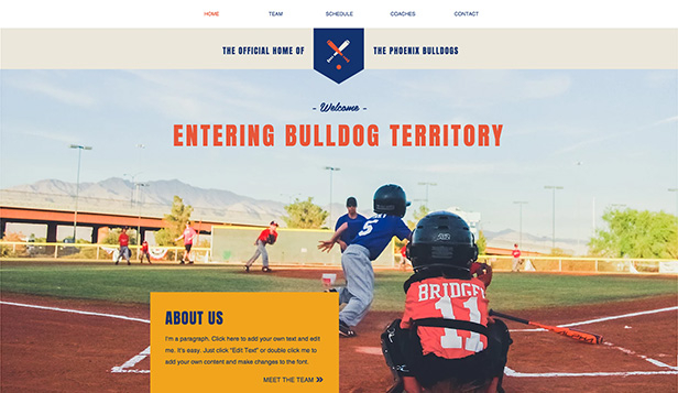 Community website templates – Youth Baseball Team