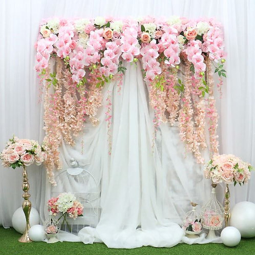 Artificial  Pink 150cm Wisteria Orchid flower row/ floral garland