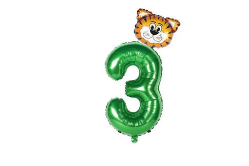 3rd birthday party foil balloon Jungle theme
