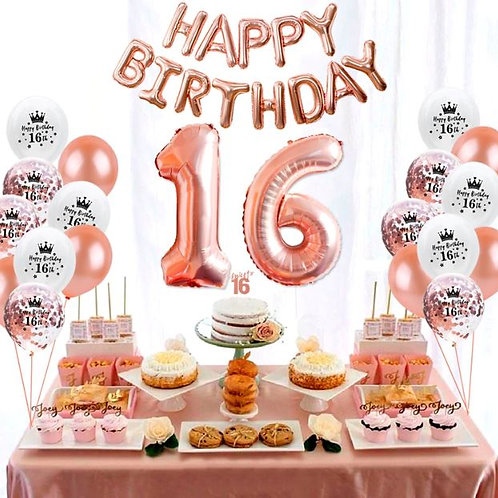 Sweet 16 Rose gold happy birthday set