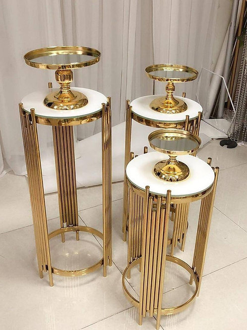 Gold X3pcs wedding pedestal columns for cakes/ Cake stands/ Baby shower Decor