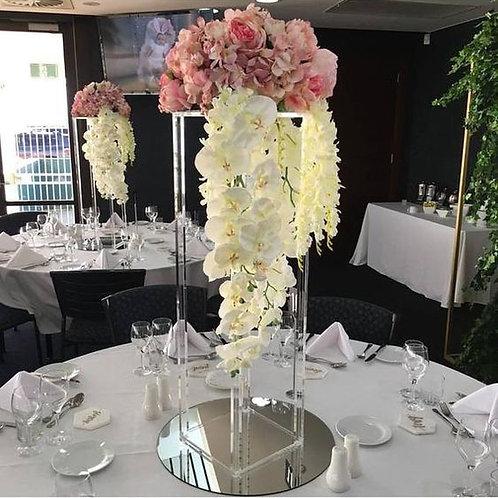 Acrylic Rectangle Stand Geometric Vase, Clear centerpiece, Tall centerpiece