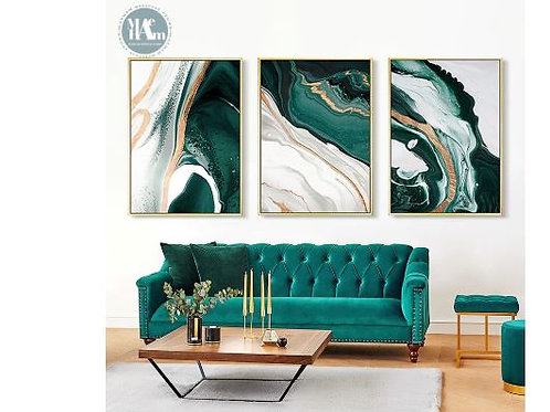 Modern Abstract Gold foil lines Green Canvas Art Paintings For Living Room