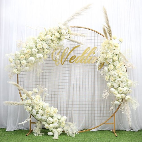 Artificial flower row runner decor/ dried flower reed leaf with rose peony