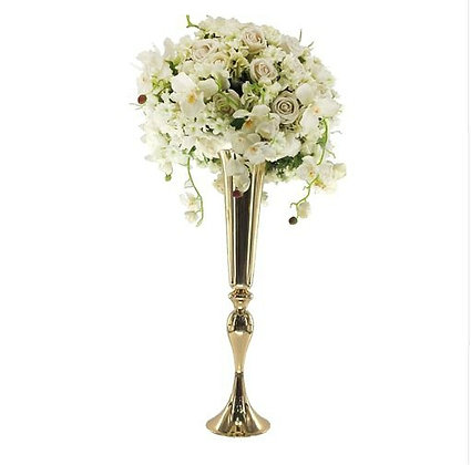 Gold Metal Wedding centrepiece vase, Tall centerpiece