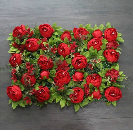 Daring Red with ivy Flower Panel