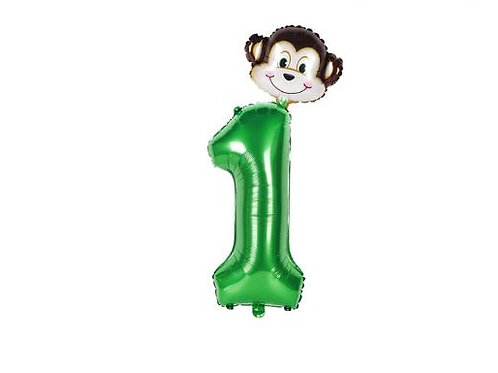 1st birthday party foil balloon Jungle theme
