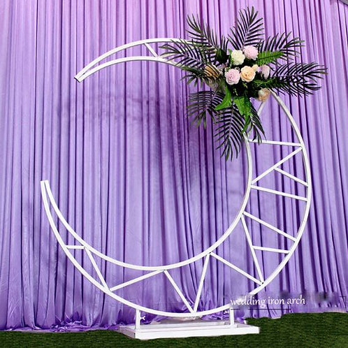 Gold or white moon Iron metal arch/ hexagonal arch/ flower arch
