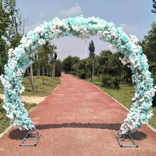 Blue cherry blossom and Metal arch wedding backdrop arch