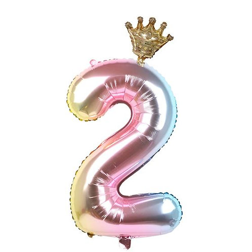 40 inch Unicorn and Crown 0-9 Foil Number balloons