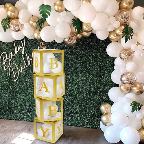Baby shower balloon holder, Baby shower background decor, gender reveal ideas