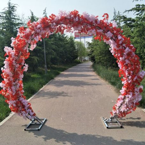 Red & Pink cherry blossom and Metal arch wedding backdrop arch