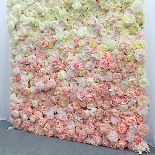 Two tone pink and white floral wall with foam board