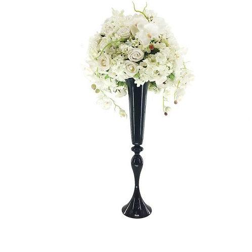 Black Metal Wedding centerpiece vase, Tall centerpiece