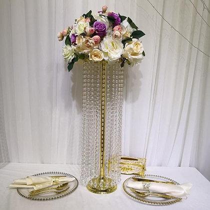 10pcs 70cm Gold Metal Crystal wedding centerpiece, Tall centerpiece wedding vase