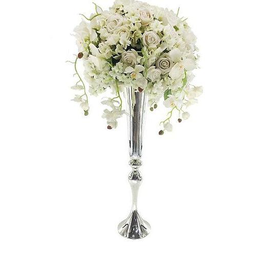 Silver Metal Wedding centerpiece vase, Tall centerpiece