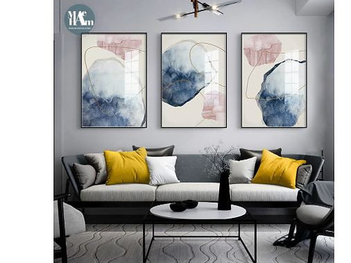 Abstract Blue watercolor Canvas Print Paintings Golden lines Poster Nordic Wall