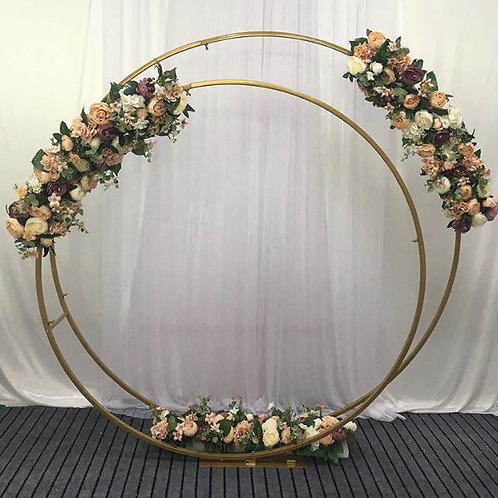 Double Gold Iron metal arch/ round ceremony arch
